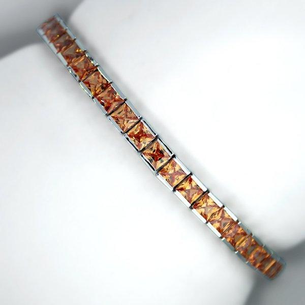 Silver French Champagne Cubic Zirconium Tennis Bracelet