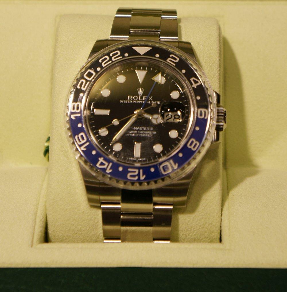 Rolex Mens GMT Watch - Blue Bezel, Original Box/Papers
