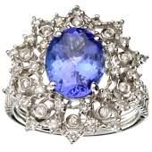 APP 17k 18kt White Gold 2CT Tanzanite  Diamond Ring