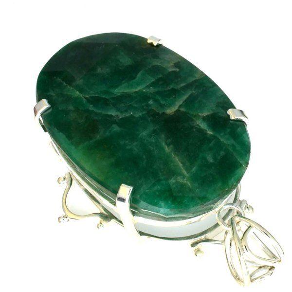 APP: 3k 225CT Grn Beryl Emerald & Silver Pendant