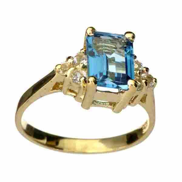 APP: 1.5k 14 kt. Gold, 2.25CT Blue Topaz & Topaz Ring