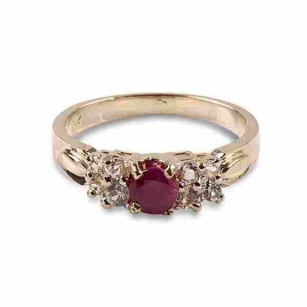APP: 1.2k 14kt Gold, 1.20CT Ruby & White Sapphire Ring