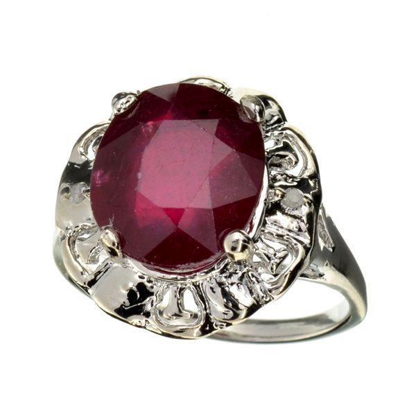 APP: 7k 5CT  Oval Cut Ruby & Diamond Sterl Silver Ring