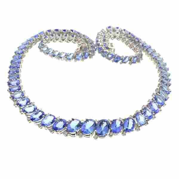 APP: 47k Wt Gold, 40CT Tanzanite & 2CT Diamond Necklace