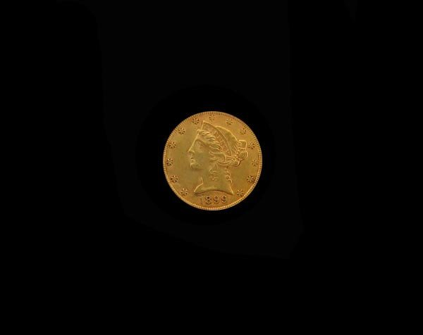 5729: GOV: 1899 $5 US Gold Coin, COLLECTABLE!!