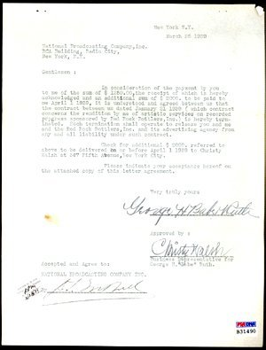 6501: GOV: Babe Ruth Signed Document with Exceptional F