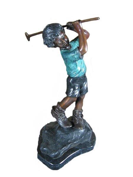 "10: Museum Quality Bronze: Golf Boy Bronze, 14"" x 8"" x"