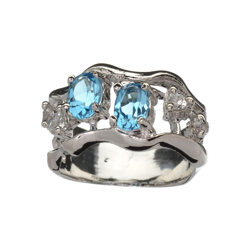 APP: 0.9k Fine Jewelry 0.75CT Blue And Colorless Topaz