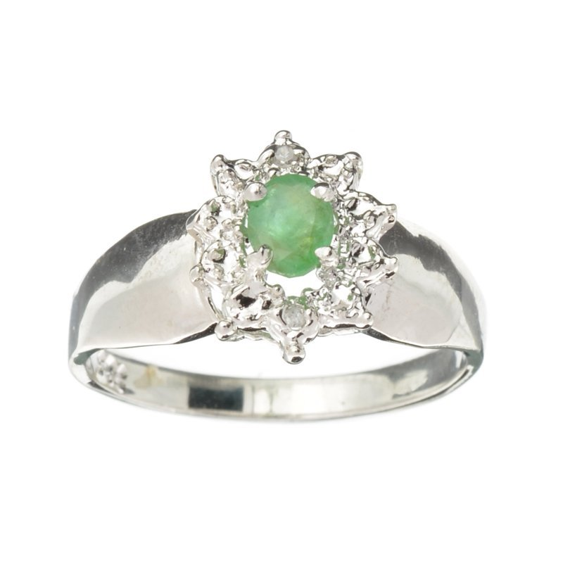 APP: 1.2k 0.32CT Emerald and Diamond Platinum Over
