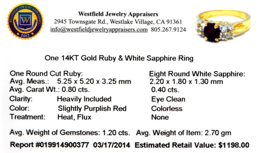 APP: 1.2k 14 kt. Gold, 1.20CT Ruby And White Sapphire - 2