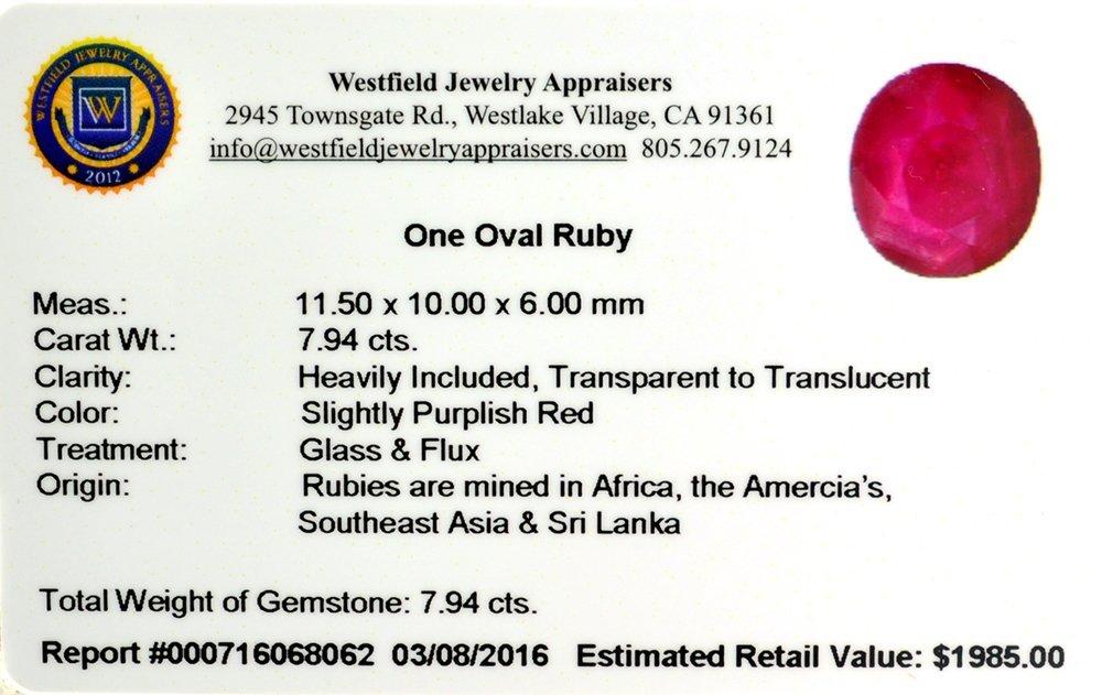 APP: 2k 7.94CT Oval Cut Ruby Gemstone - 2