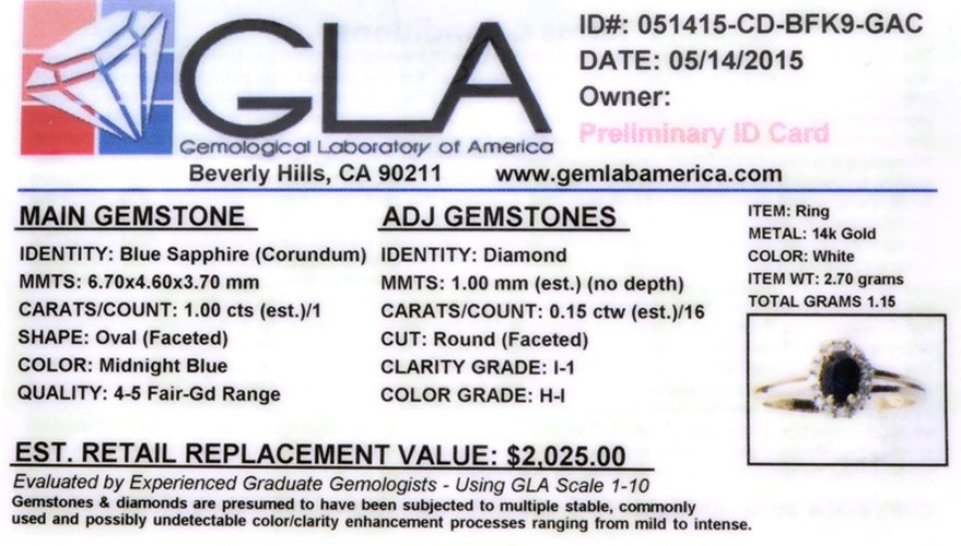 APP: 2k Fine Jewelry 14kt White Gold 1.00CT Blue - 2
