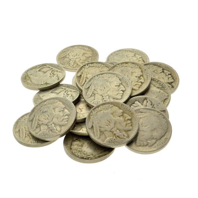 (20) 1913 - 1938 Buffalo Nickels Coin