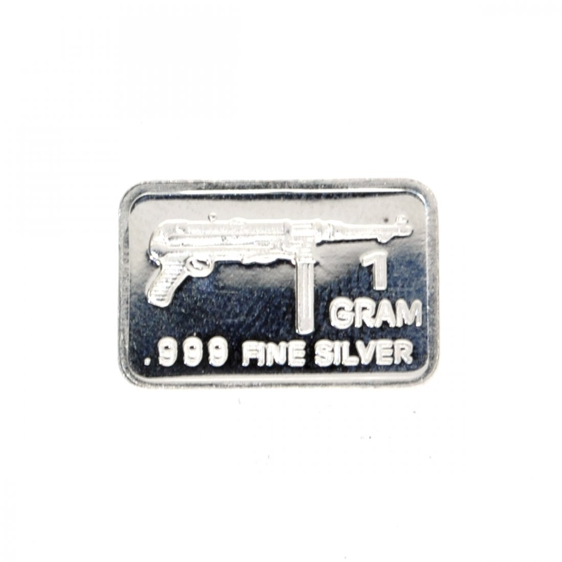 1 Gram Submachine Gun Design .999 Fine Silver Bar