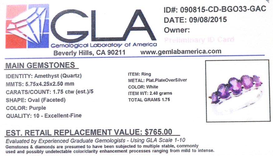 APP: 0.8k Fine Jewelry 1.75CT Oval Cut Purple Amethyst - 2