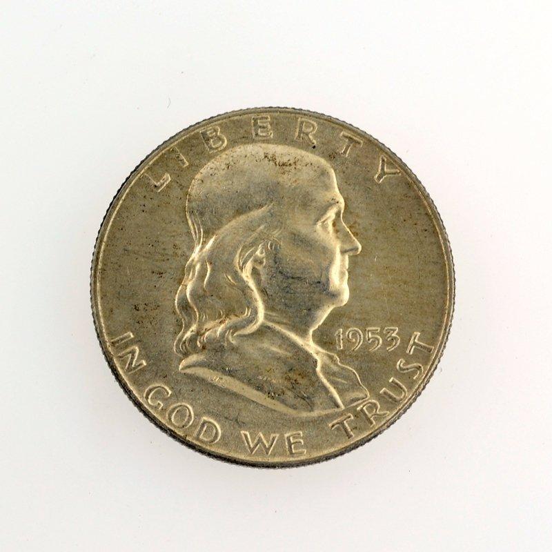 1953-D Franklin Liberty Bell Half Dollar Coin