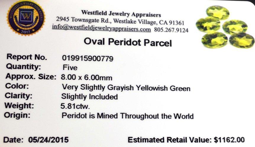 APP: 1.2k 5.81CT Oval Cut Green Peridot Parcel - 2