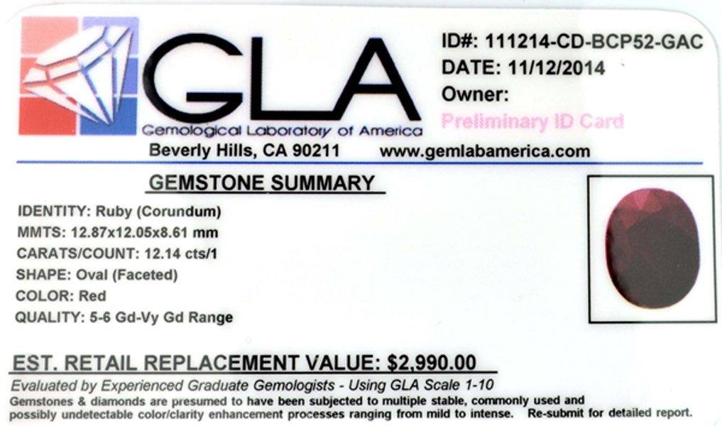 APP: 3k 12.14CT Oval Cut Ruby Gemstone - 3