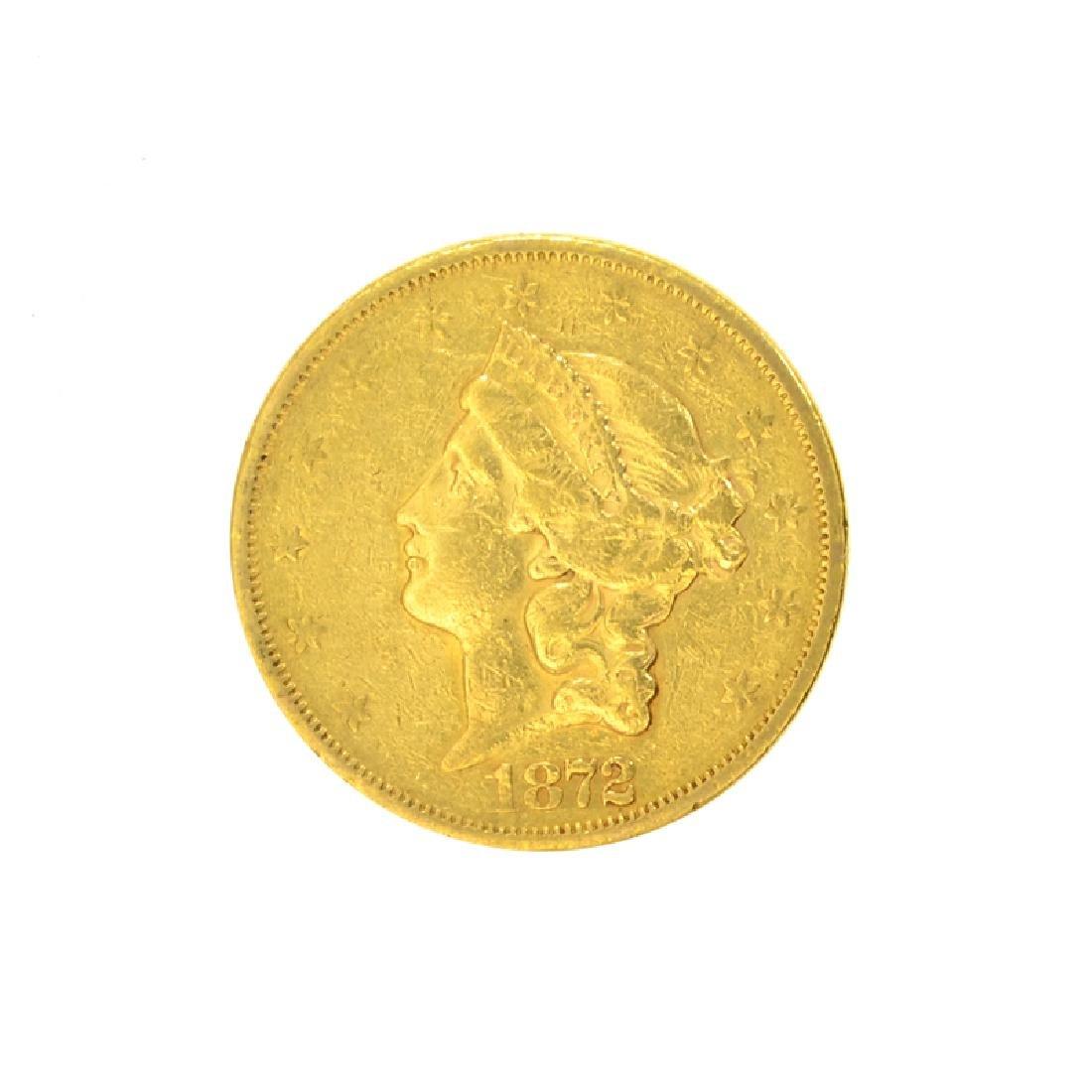 *1872-S $20 U.S. Liberty Head Gold Coin (DF)