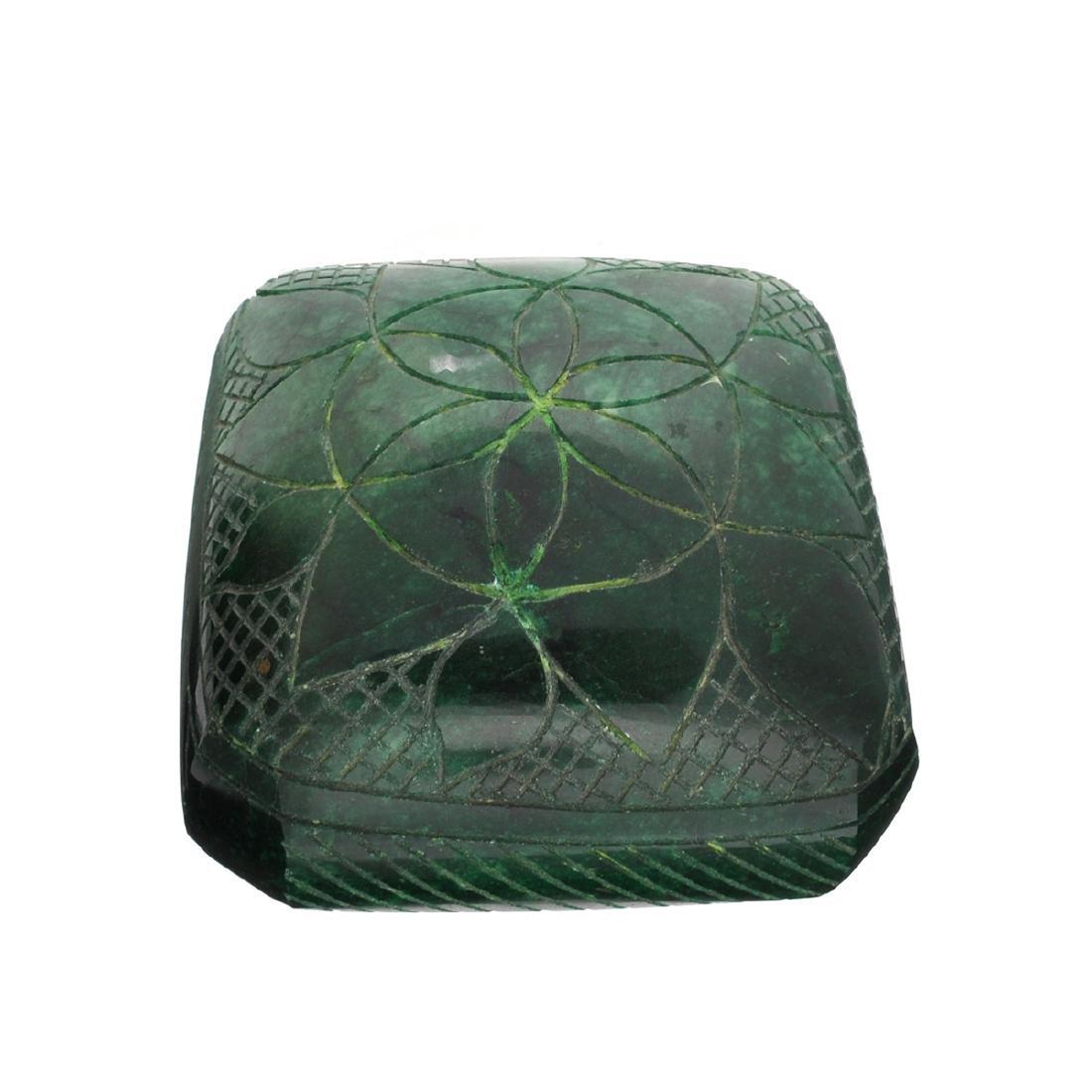 APP: 14.9k 2,979.00CT Square Cut Carved Green Beryl