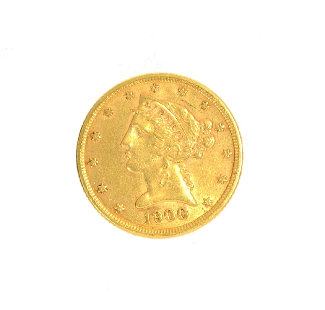 *1900 $5 U.S. Liberty Head Gold Coin (DF)