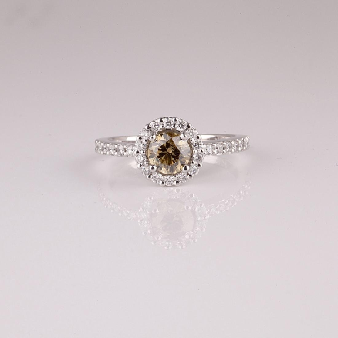 APP: 5k *14 kt. Two Tone Gold, 0.92CT Round Cut Diamond