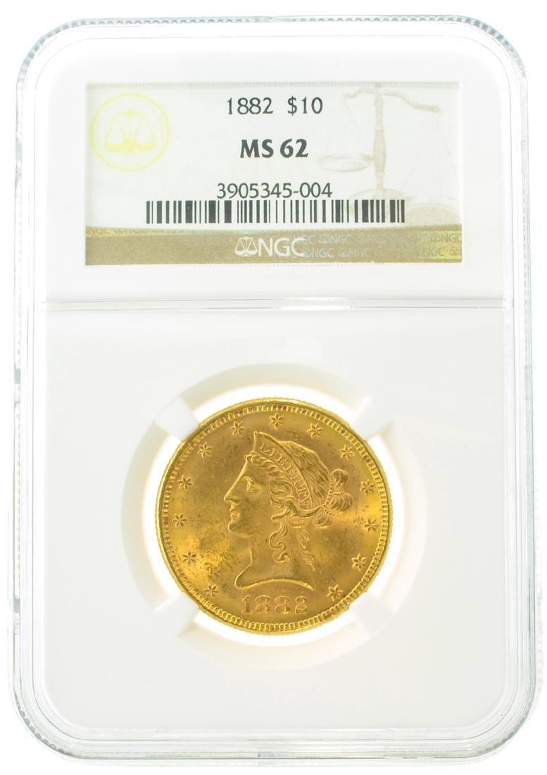 *1882 $10 MS 62 NGC Liberty Gold Coin (DF)