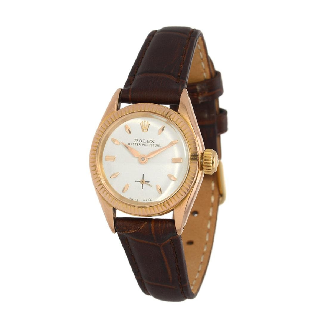 *Vintage Rolex Oyster Perpetual Gold Plated Brown Face