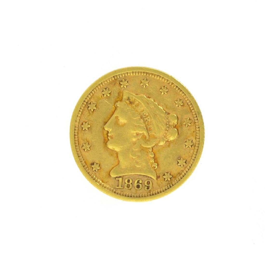 *1869-S $2.5 U.S. Liberty Head Gold Coin (DF)