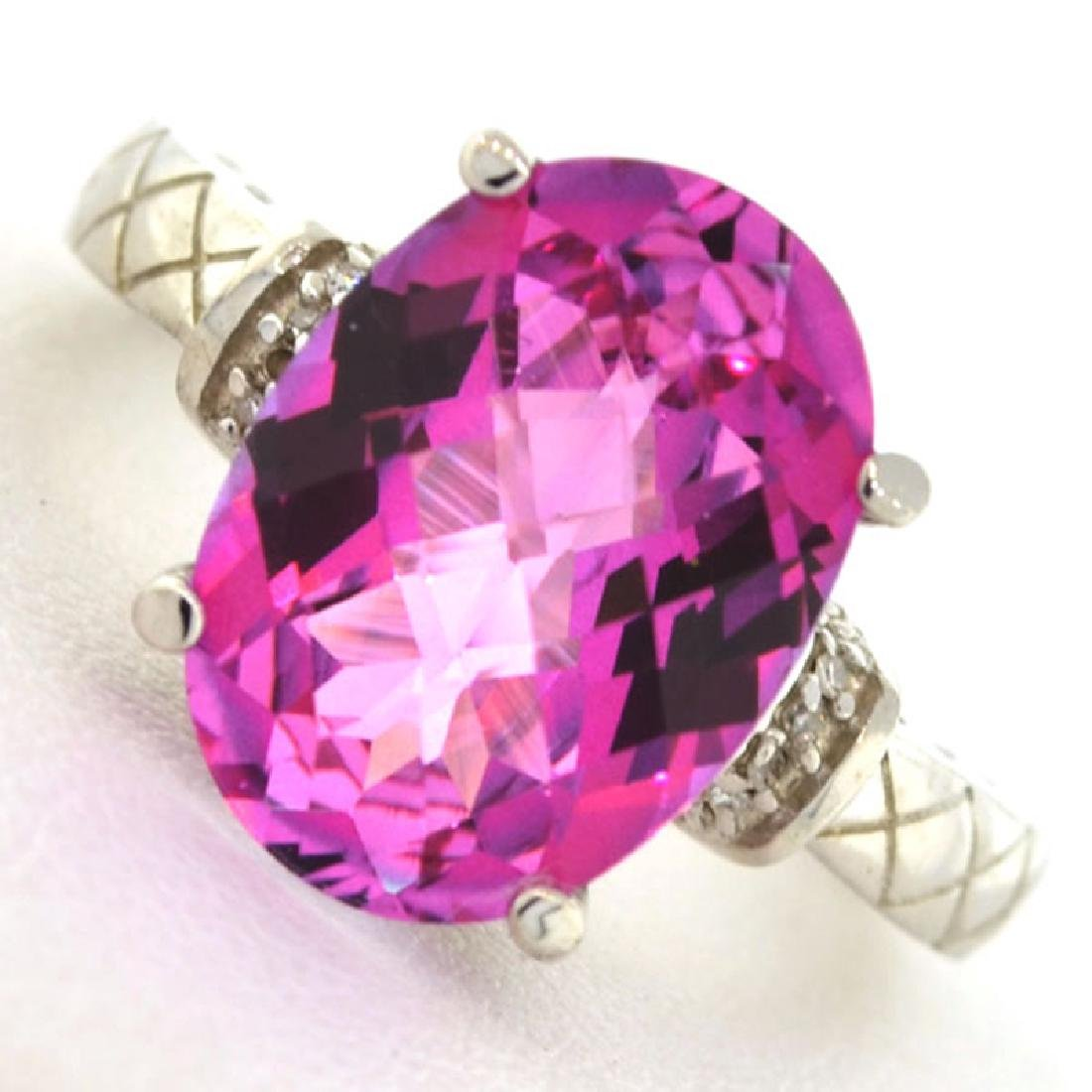 APP: 3.7k 6.52CT Pink Topaz and Diamond Platinum Over