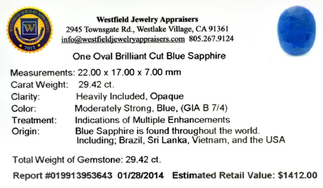 APP: 1.4k 29.42CT Oval Cut Blue Sapphire Gemstone - 2