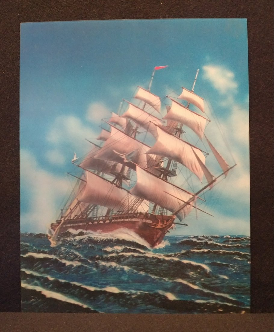 Lenticular 3D Sail Ship At Sea Made In Japan 1960s