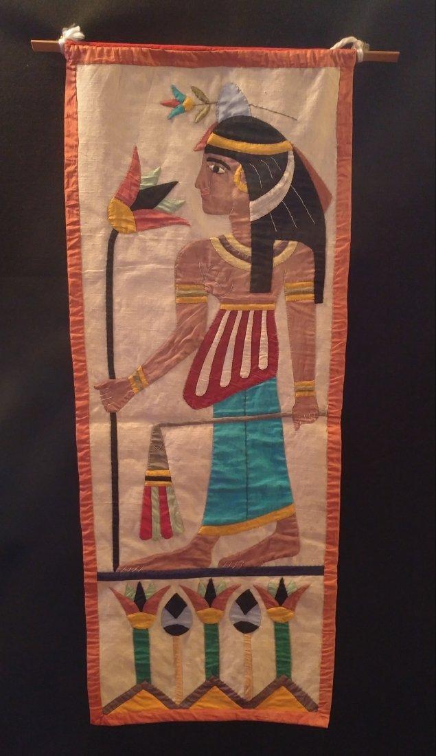 Antique Egyptian Revival Woman Holding Flowers Textile