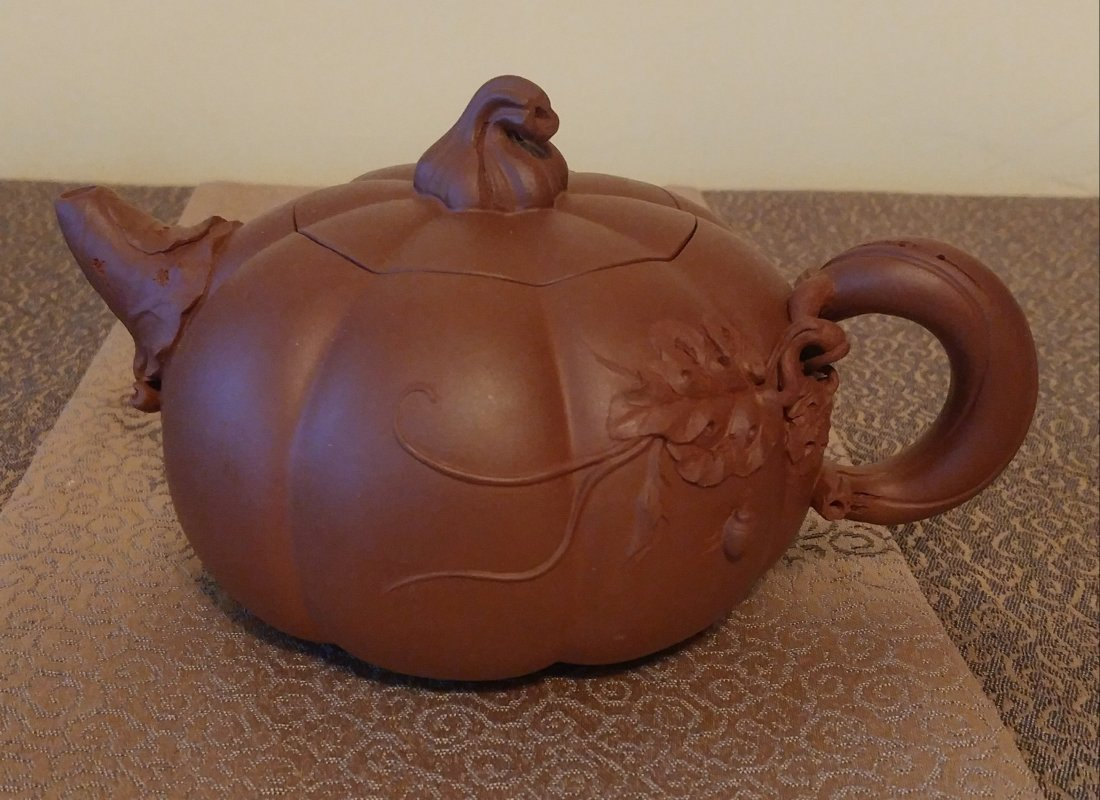 Chinese Yixing Zisha Teapot Gourd With Beetles Signed