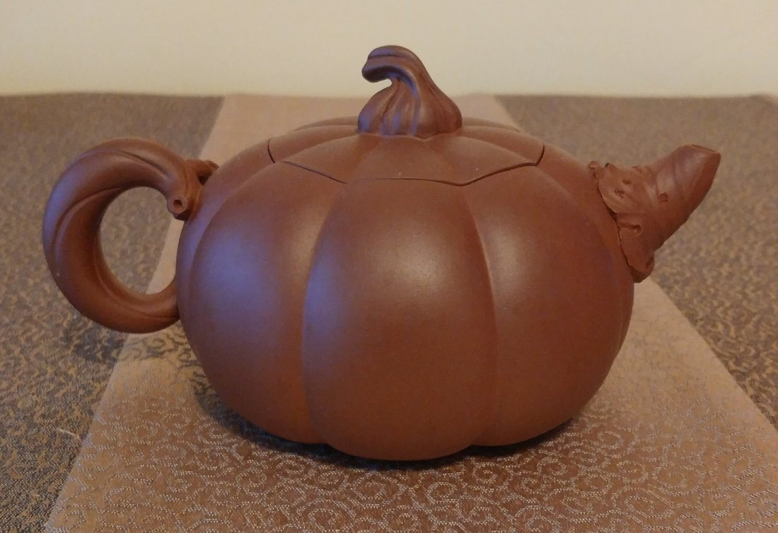 Chinese Yixing Zisha Teapot Gourd With Beetles Signed - 2