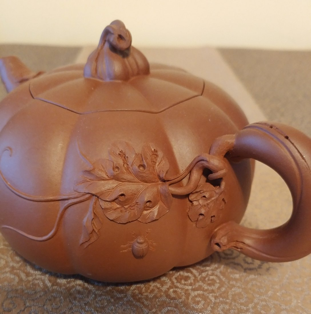 Chinese Yixing Zisha Teapot Gourd With Beetles Signed - 5