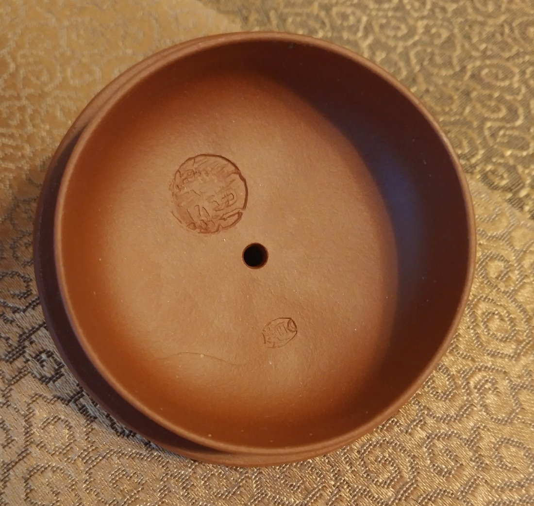 Chinese Yixing Zisha Teapot Gourd With Beetles Signed - 9
