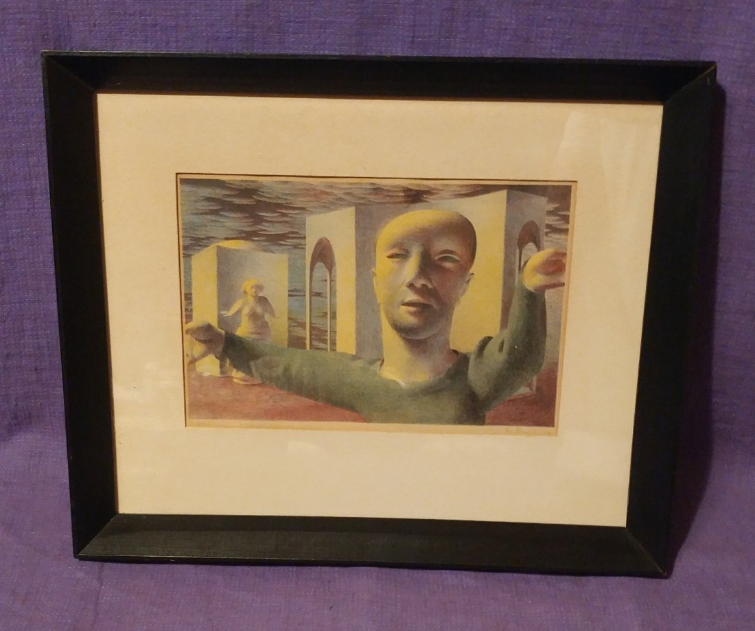D. Stuart Surrealist Man Signed Numbered Print 1948