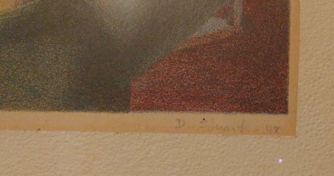 D. Stuart Surrealist Man Signed Numbered Print 1948 - 3