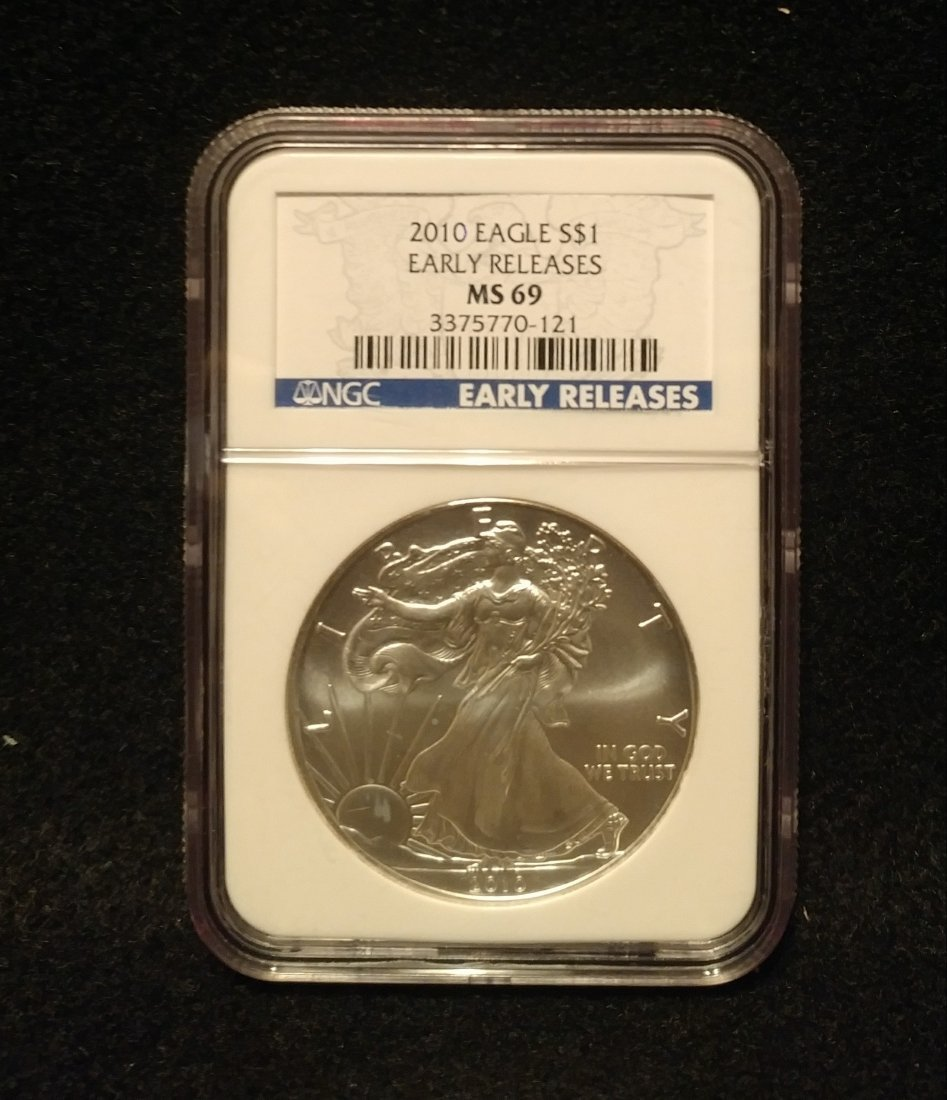 2010 American Silver Eagle NGC Graded MS69 Early Releas