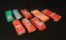 Lot of 8 Vintage Auburn Rubber Cars And Firetrucks