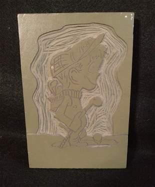 Cartoon Golfing Boy Linoleum Cut Printing Block Vintage