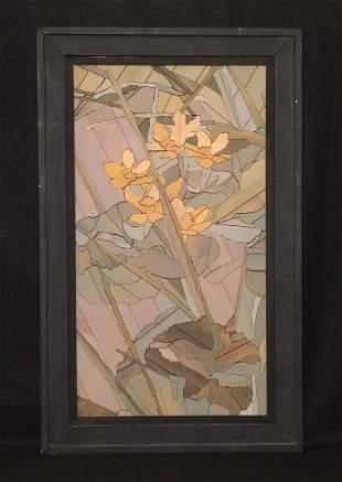 Hand Made Wooden Art abstract Flowers Folk Art