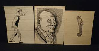 Lot of 3 1930s Original Ink Art Folk Cartoon Caricature