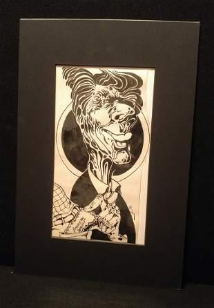 David Geiser Original Ink Illustration Ronald Reagan