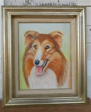"""Collie Dog Vintage Painting On Canvas Framed 18"""" x 21"""""""