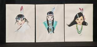 Lot of 3 Native American Portraits Signed Guichard 1979