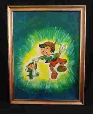 Pinocchio Painting on Board Outsider Hobo Art