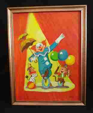 Bozo the Clown Painting on Board Outsider Hobo Art