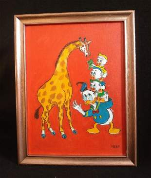 Donald Duck Painting on Board Outsider Hobo Art